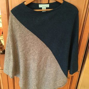 Blue and Gray Wool/Cashmere Poncho